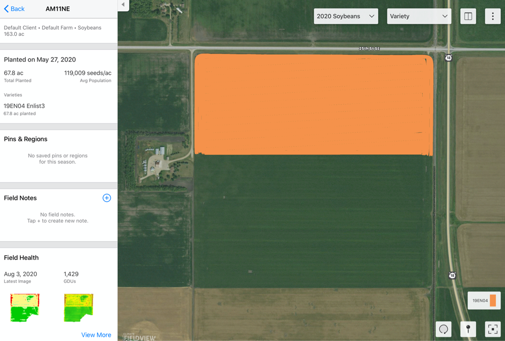 Use Climate FieldView to track operations on your farm.