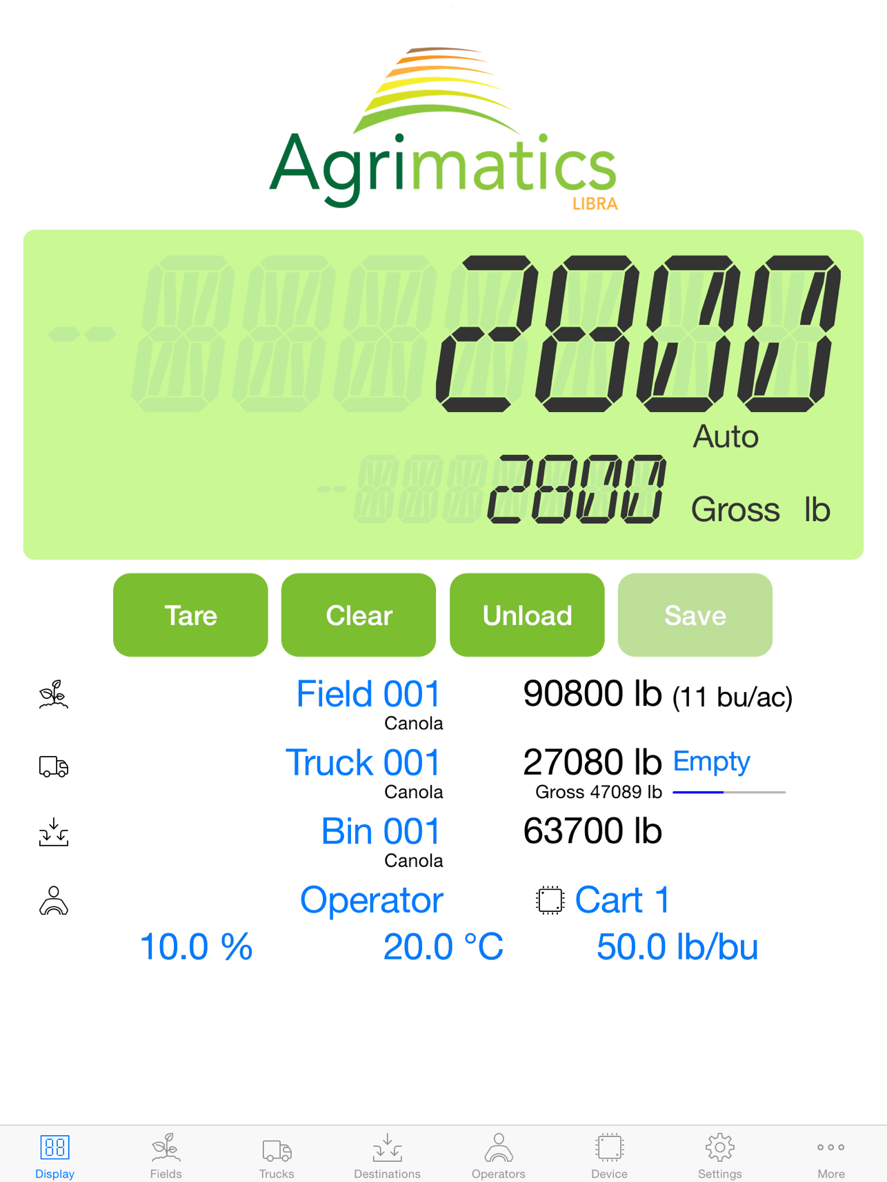 Use Agrimatics Libra Cart to track grain inventory loads on your farm.